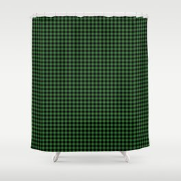 Mini Black and Dark Green Cowboy Buffalo Check Shower Curtain