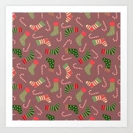 Hand painted green red white Christmas socks candy pattern Art Print