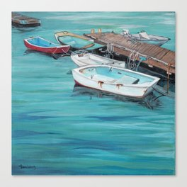 Dinghy Boats Ocean Dock Blue Sea Canvas Print