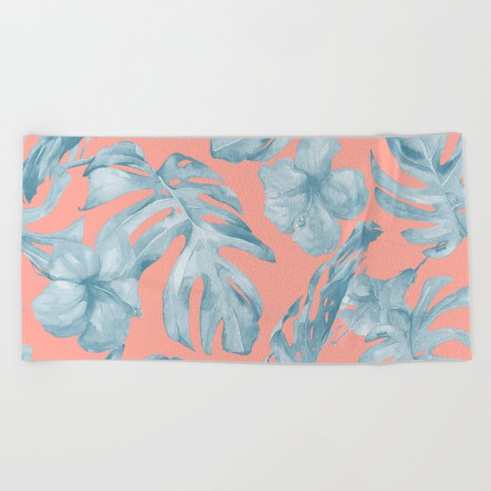Island Life Pale Teal Blue on Coral Pink Beach Towel