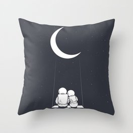 Astronaut Girl and Boy sits on Swing Throw Pillow