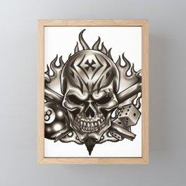 Skull with Eyebrow Ring Framed Mini Art Print
