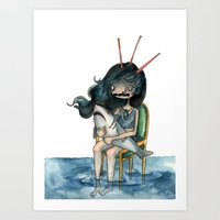 anxiety Art Prints featuring anxiety by leteresa