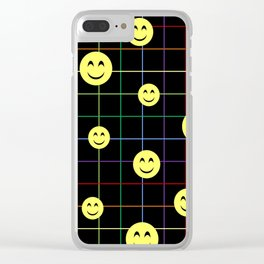 Colorful Smiley Emoji 4 - black Clear iPhone Case