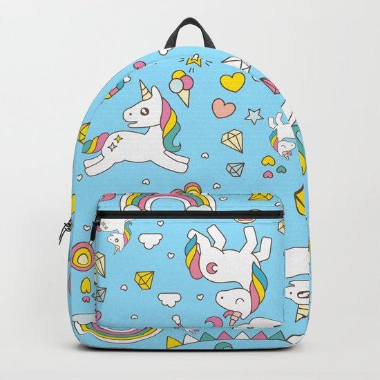 Unicorn Light Blue Pattern Backpack