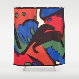"Franz Marc ""The Blue Rider (Der Blaue Reiter)"" Shower Curtain"