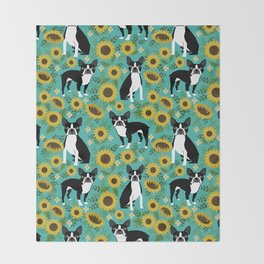 Boston Terrier sunflower floral dog breed pet portrait pet friendly pattern dogs gifts Throw Blanket