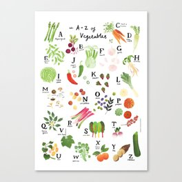 Illustrated Vegetable Alphabet Canvas Print