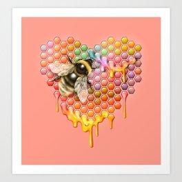 valentines heart, bumblebee, beehive Art Print