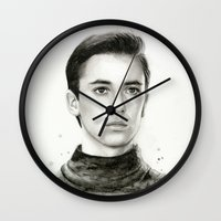 wesley bird Wall Clocks featuring Wesley by Olechka
