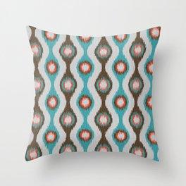 Ikat Stringed Beads Pattern - Teal Brown Orange Grey Throw Pillow