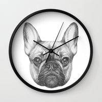 frenchie Wall Clocks featuring Frenchie by Victoria Novak