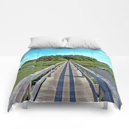 Uncle Tim's Bridge at Low Tide  Comforters