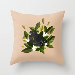 Leaves x Pigeon Throw Pillow