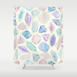 Pastel Watercolor Gems Shower Curtain