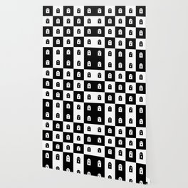 Cute Scary Ghost Checkered Pattern Wallpaper