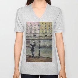 City Landscape selfie Print Original Oil Painting on Canvas Unisex V-Neck