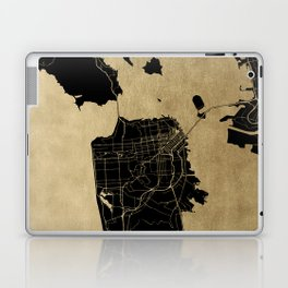 San Francisco California Black and Gold Map Laptop & iPad Skin