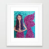 fitzgerald Framed Art Prints featuring Cordelia Fitzgerald the Mermaid by inara77
