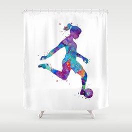 Soccer Girl Player Watercolor Art Gift Sports Art Shower Curtain