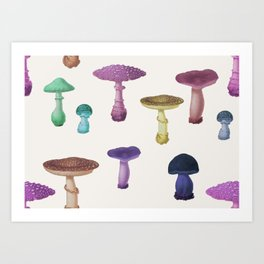 Vintage Rainbow Mushroom Party Art Print