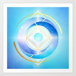 Icy Golden Winter Swirl :: Floating Geometry Art Print