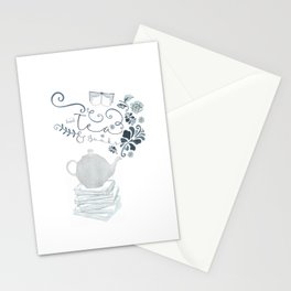 Tea and Books Stationery Cards