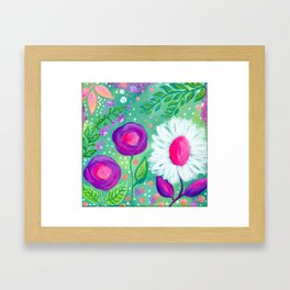 White Flowers, Purple Flowers, Floral Painting for Girl, Nursery Decor, Green, Blue, Coral Art Framed Art Print