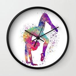 Girl Gymnastics Tumbling Watercolor Wall Clock