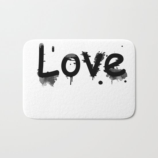 Black and white pattern Love .  1 Bath Mat