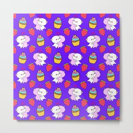 Cute happy cuddling funny Kawaii baby kittens, sweet red summer strawberries and colorful yummy cupcakes purple design. Nursery decor. Metal Print