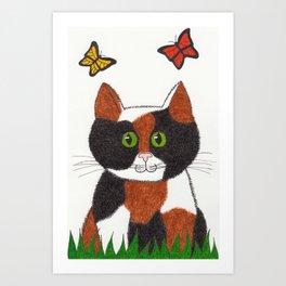Clarice the Calico Cat Nursery Art Art Print