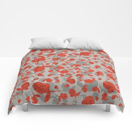 Red and Gray Floral Pattern Comforters