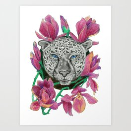 Snow panther hidden in magnolias Art Print