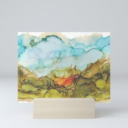 Alcohol Ink Abstract Landscape Farmland Sunset Mini Art Print