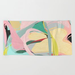 Shapes and Layers no.23 - Abstract Draper pink, green, blue, yellow Beach Towel