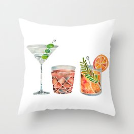 Classic Cocktails  – 1960s Watercolor Lineup Throw Pillow