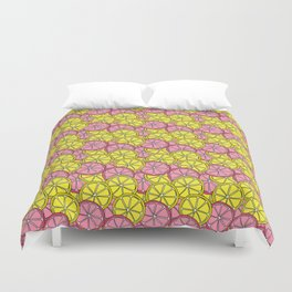 Summer Doodle - Pink and Yellow Lemons Pattern Duvet Cover