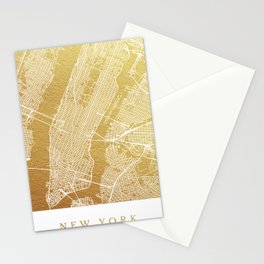 New York gold map Stationery Cards