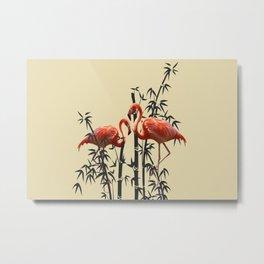 Flamingo Bamboo Leaves light yellow Metal Print