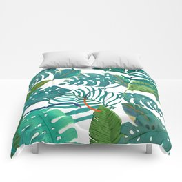 tropical diferent leaves Comforters