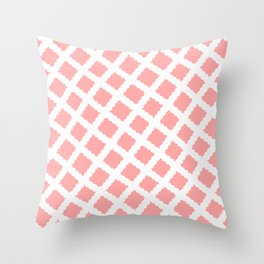 Coral Pink & White Diagonal Grid Pattern - Black & Pink - Mix & Match with Simplicity of Life Throw Pillow