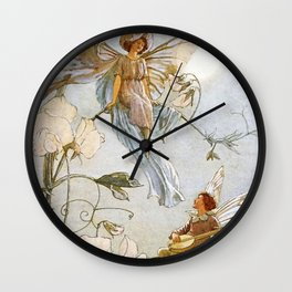 """Fairies Mid Sweet Peas"" by Margaret Tarrant Wall Clock"