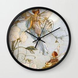 """Fairies Mid Sweet Peas"" by Margaret Tarrant Wall Clock"