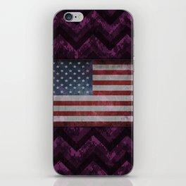 Byzantium Purple Digital Camo Chevrons with American Flag iPhone Skin