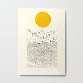 The sea cliffs under the giant sun Metal Print