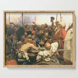 Ilya Repin Reply of the Zaporozhian Cossacks Serving Tray