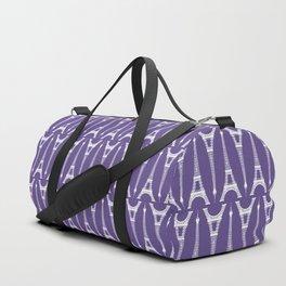 White Eiffel Towers on Ultra Violet Purple Duffle Bag
