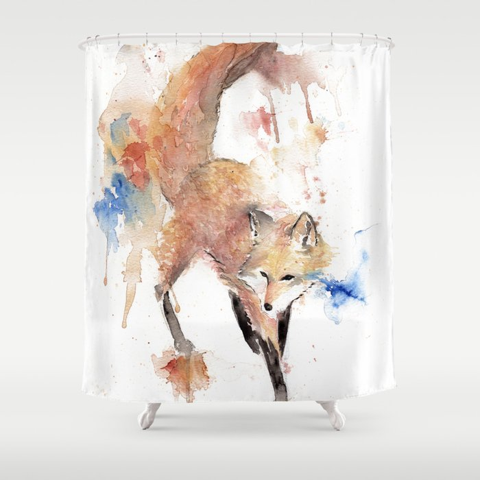 """Watercolor Painting of Picture """"Red Fox"""" Shower Curtain"""