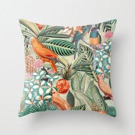 Vintage & Shabby Chic - Sepia Tropical Bird Garden Throw Pillow